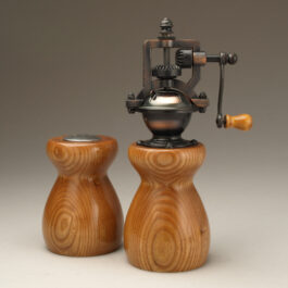 Antique Style Pepper Mill and Salt Shaker Set in Red Elm
