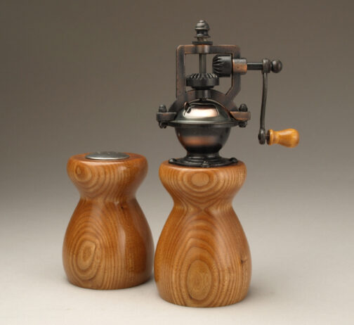Antique Peppermill and salt shaker set in Red Elm