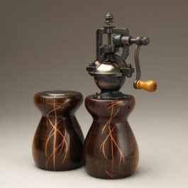 Antique Style Pepper Mill and Salt Shaker Set in Wenge