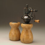 Antique Style Pepper Mill and Salt Shaker Set in Spalted Hickory