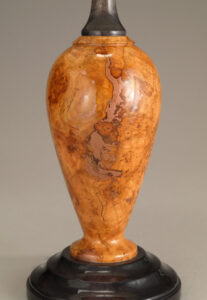 Close-up of Cherry Burl Lamp with Copper Inlay