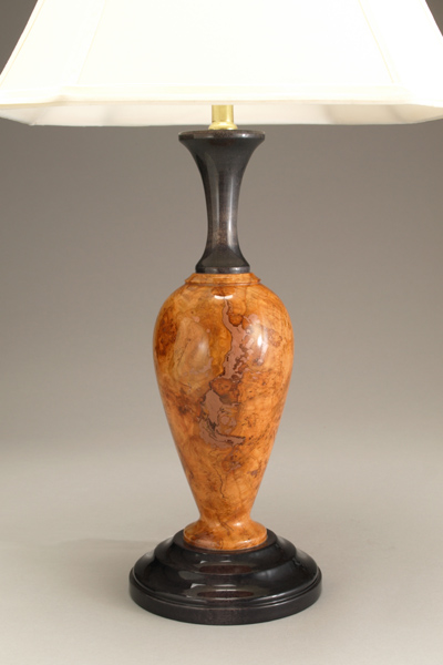 Cherry Burl lamp with Ebonized accents by Ted Sokolowski