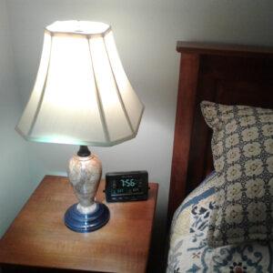Cherry Burl Lamp on Nightstand