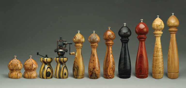 Assortment of Unique Handmade Peppermills By Ted Sokolowski