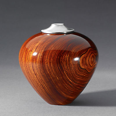 French Polished Cocobolo with Pewter Hollow Form