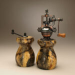 Antique Style Pepper Mill and Salt Mill Set in Spalted Grapevine