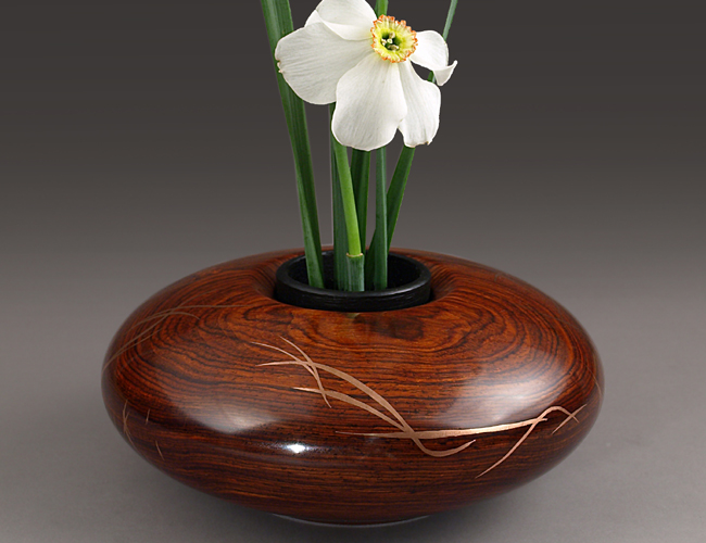 Cocobolo Ikebana with Copper Metal Inlay