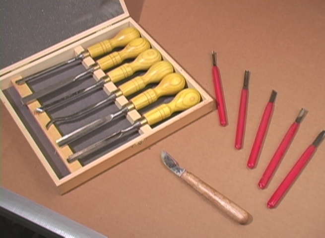 Selection of hand carving tools