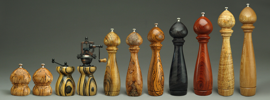 Selection of Handmade Peppermills by Ted Sokolowski