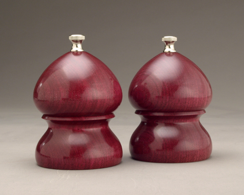 """Purple Heart 4"""" Traditional Salt and Peppermill set"""