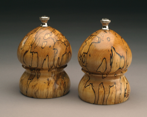 """Spalted Maple 4"""" Traditional Salt and Peppermill set"""