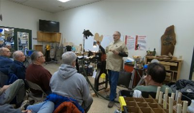 Ted Sokolowski demonstrating at Lehigh Valley Woodturners Feb 2019